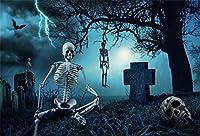 Qinunipoto 背景布 ハロウィン happy halloween 写真の背景 骷髅 墓地 枯れ木 稲妻 コウモリ 荒野 背景幕 写真ブース撮影 人物撮影 撮影用 小道具 写真撮影用 写真館 背景ポスター 写真背景 ビニール 1.5x1m