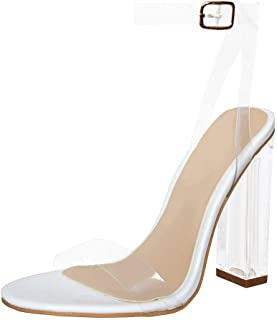 Women's Clear PVC Ankle Strap Sandals Chunky Heel Transparent Dress Shoes