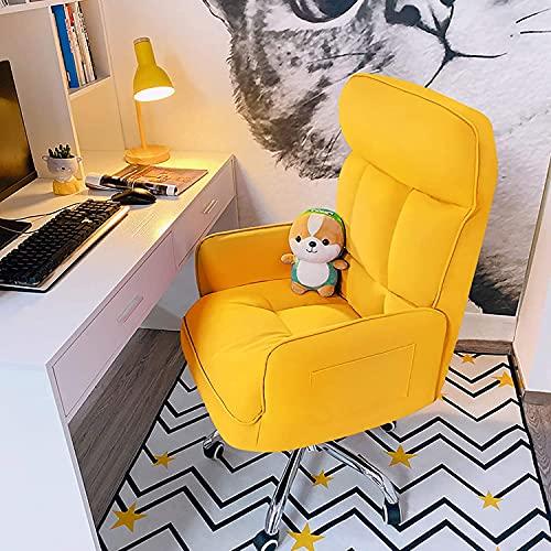 Cómoda silla ejecutiva para el hogar, silla de escritorio para salón, dormitorio, silla ergonómica de ordenador, altura ajustable, silla de juego con ruedas y reposabrazos Chayelu (color amarillo
