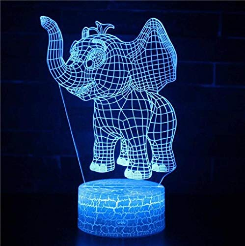 Elephant Christmas Decorations Gift for Baby Room Lights Table Lamp for Bedroom White Base Lovely 7 Color Change Desk Lamp