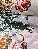 ESSENZA Biancheria da letto Fleur fiori peonie tulipani in raso di cotone grigio, 155 x 220 + 1 x 80 x 80 cm