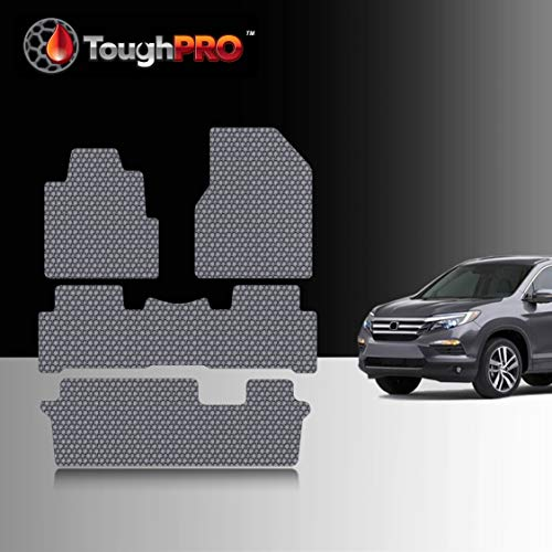 TOUGHPRO Floor Mat Accessories 1st + 2nd + 3rd Row Compatible with Honda Pilot - All Weather - Heavy Duty - (Made in USA) - Gray Rubber - 2009, 2010, 2011, 2012, 2013, 2014, 2015