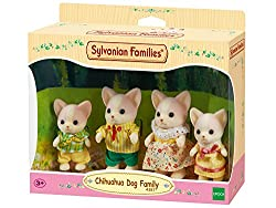 Chihuahua dog posable collectable figures Four piece set: Father, mother, brother and sister Dressed in removable fabric clothing Stimulating imaginative role-play in children Suitable for ages 3 years to 10 years