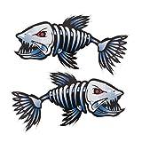 MOOCY 2Pcs 12.2x6.2 inch Fish Skeleton Decals Sticker Vinyl Auto Decal Sticker for Kayak Fishing Car