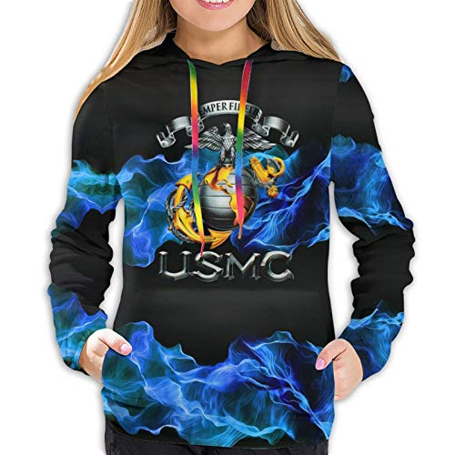 Actuallyhome Women's Hoodie Full-Printed Pullover USMC Semper Fidelis Decal 3D Printed Girl's Jersey Active Sweatshirts with Pockets Sweaters for Female