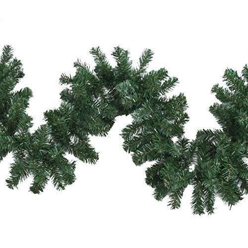 HI Tannengirlande 270 cm - wetterfeste, grüne Girlande (Indoor & Outdoor), weihnachtliche Girlande als Weihnachtsdeko aussen & innen, mit 210 Zweigen