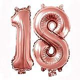 REYOK Numero 18 Palloncini 40 Pollici Oro Rosa 18 ° Compleanno Elio Foglio Mylar Palloncino Compleanno Decorazioni e Forniture 18 ° Compleanno Regali per Ragazze, Donne, Uomini, Foto Puntelli