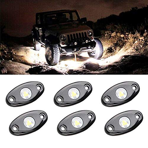 MOSTOP LED Rock Light Kits with 6 Pods Lights for Jeep Wrangler Off Road Truck Car ATV SUV Under Body Glow Light Lamp Trail Fender Lighting LED Neon Waterproof (White)