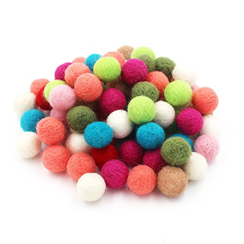Genenic 20mm Mixed Color Wool Felt Balls Findings For DIY Crafts,100% Wool(A Little Foam Inside)