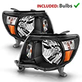 AmeriLite Replacement Headlights Pair Black Amber for 2005-2011 Toyota Tacoma - Passenger and Driver Side