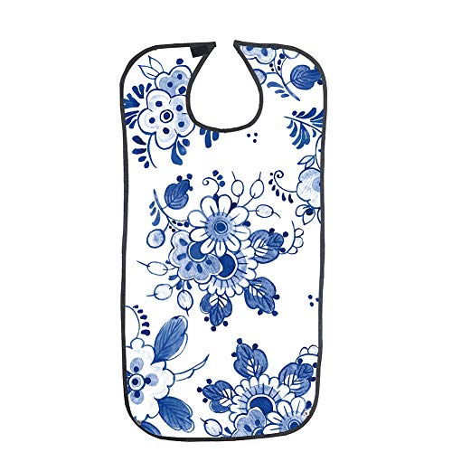 Adult Bib,Eating Drinking Clothing Protectors,Waterproof Crumb Catcher,Navy Print Senior Eating and Drinking Aid Apron, Extra Long Senior Men and Women Bibs for Eating (White with Flower Print)