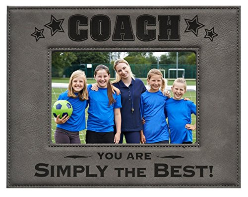 Coach Picture Frame - Gray 5x7 Engraved Leatherette Picture Frame - Baseball, Football, Soccer,...