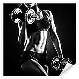 Postereck 3535 - Poster & Leinwand - Quadrat, Frau Fitness Hantel Sport Training Größe Poster -...