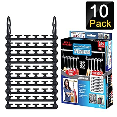 "AOLIGEI 20pcs Clothes Hangers Space Saving, Wardrobe Hangers Organisers Non Slip Magic Hangers Closet 9.5"" x 4"" from AOLIGEI"