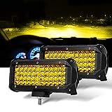 7 Inch 2PC Yellow Spot Beam LED Light Bar Sammanlight Light...