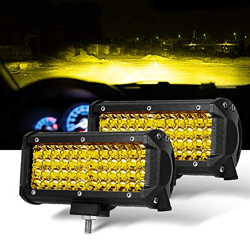 Sammanlight 7 Inch 2PCS Yellow Spot Beam LED Light Bar Light Pods Driving Lights Fog Lights Work Lights Amber Quad Row Lighting for...