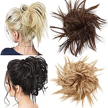 DIFEI Tousled Updo Messy Bun Hair Piece Curly Clip in Ponytails Puffs Hair Bun with Drawstring One-Piece Hair Extention for African American Black Women(4A)