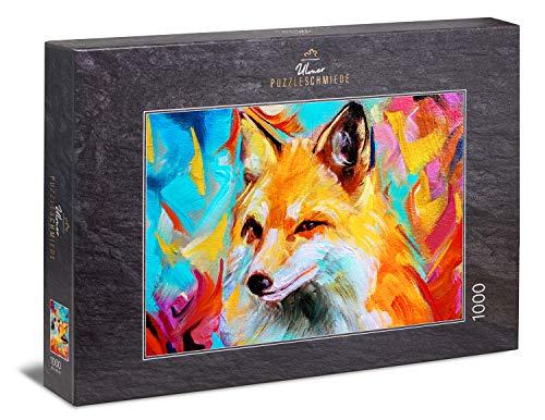 Ulmer Puzzleschmiede - Puzzle Zorro de Colores: Puzzle de 1000 Piezas - Cuadro Abstracto de un Zorro Colorido - Retrato Animal Moderno