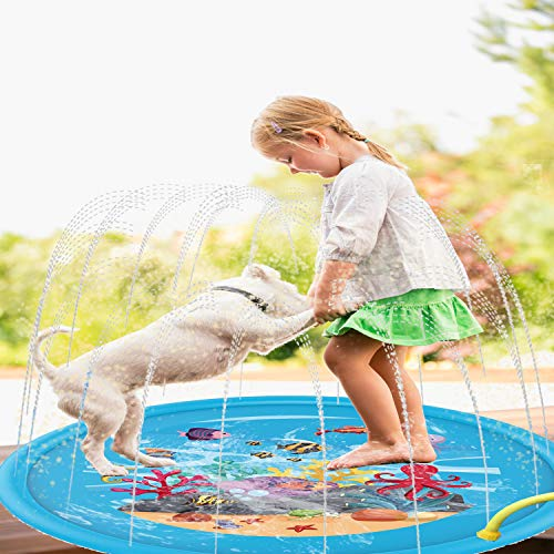 Flyboo Splash Pad 68' Sprinkler Mat Water Toys for Kids Toddlers Summer Outdoor Baby Play Water Pool for Boys Girls Party Sprinkler Splash Toy