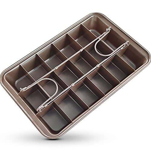 Brownie - Molde para tartas con divisores y base elevadora, rectangular, antiadherente, acero al carbono duradero, 31 x 20 x 4,9 cm