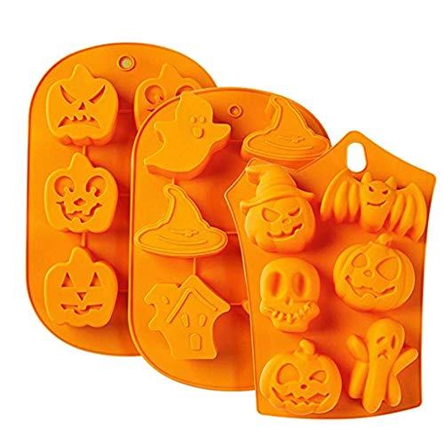 JIACUO 3 stuks Halloween Siliconen Bakvormen Perfect om Pudding, Ice Cube, Chocolade te maken