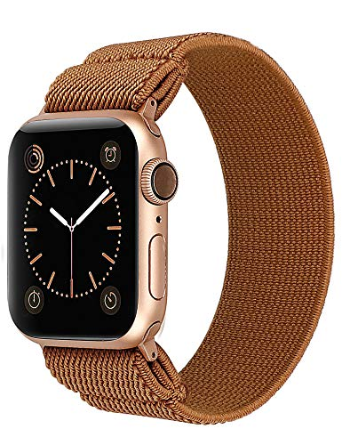 TOYOUTHS Elastic Band Compatible with Apple Watch Band Scrunchies Stretchy Solo Loop 38/40mm Leopard Pattern Soft Nylon Strap Women Replacement Wristband for iWatch Series SE/6/5/4/3/2/1(Brown, S)