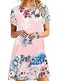 OMZIN Vestido de Verano para Mujer Vestido Suelto de Verano Camisa Larga básica Cuello Redondo Camiseta Vestido Rosa Flores XS