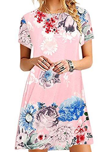 TYQQU Damen-Kleid Tunika lässig Rundhalsausschnitt Kurze Ärmel Mehrfarbig Minikleid elegant Tunika Sommerkleid lockerer Schnitt große Größe Gr. XXL Pfingstrose.