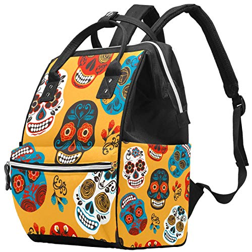 Diaper Bag Backpack with Portable Changing Pad, Pacifier Case and Stroller Straps, Large Unisex Bags,Multipurpose Travel Back Pack for Moms DadsColorful Skull Florals Pattern
