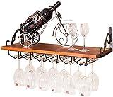 AZHOM Soporte de pared de madera for copas estilo europeo Bastidores soporte for botella de Patrón Colgando Vino unidad de almacenamiento estantes de vidrio flotante cáliz Organizador Negro-Soporte-Va