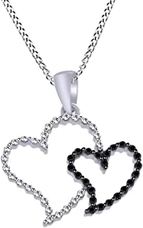 White & Black Diamond Accent Double Heart Pendant in 14k White Gold Over Sterling Silver (0.04 Ct)