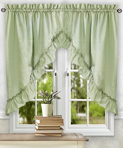Simple Comfort Ellis Curtain Stacey 60-by-38 Inch Ruffled Swag Curtain (Sage)