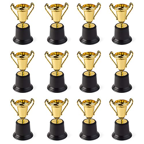 """Gold Award Trophy Cups 5"""" First Place Winner Award Trophies by Neliblu Bulk Pack of 12 For Kids and Adults - Perfect To Reward Those Who Have Achieved"""