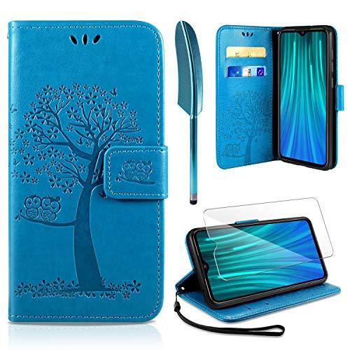AROYI Xiaomi Redmi Note 8 Pro Hülle, Handyhülle Xiaomi Redmi Note 8 Pro Hülle Tasche Leder Flip Eule Baum Wallet Schutzhülle für Xiaomi Redmi Note 8 Pro Blau