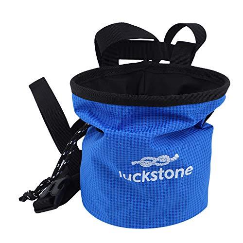 ZSDFW Bolsa de tiza para escalada en roca al aire libre, bolsa de polvo de magnesio con cierre de cordón ajustable y antideslizante, color azul cielo