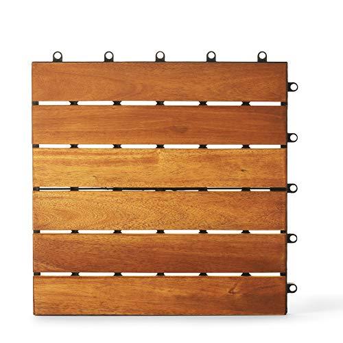 Holzfliesen (30,5 x 30,5 cm), Massivholz Akazie Deck Fliesen ineinandergreifend Outdoor, Terrassenfliesen Outdoor ineinandergreifend wasserdicht Allwetter (1 Muster)