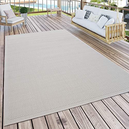 Paco Home Outdoor Teppich Für Terrasse Und Balkon Küchenteppich Einfarbig Modern Creme Beige, Grösse:300x400 cm