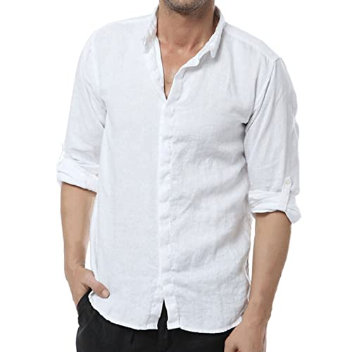 1f21e4e0d52c Najia Symbol Mens Casual 100% Linen Long Sleeve Button Up Shirt ShowMen303