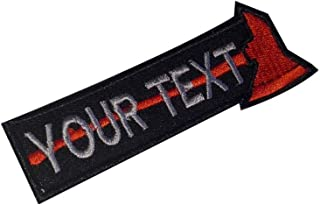 Firefighter Custom Name Tape Thin Red Line Axe Fire Man Embroider Patch Fire & Rescue EMT EMS Moral Patch Hook Backing)