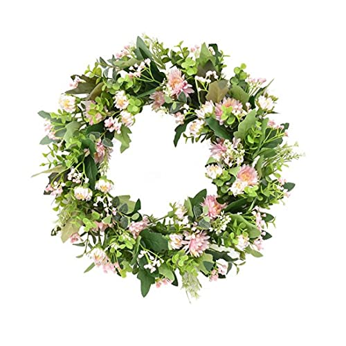 Wreath Door Hanging Floral Garland Ring Silk Artificial Flower Pink Daisy Decoration for Home Wall Front Door Office Wedding Party Style4