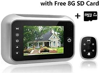 hangang Mirilla Digital LCD 89cm High píxeles Cámara con visión Nocturna Gran Angular de Vídeo récord Photo Timbre Home Security Camera incluida Tarjeta SD 8G