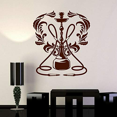 TYLPK Vinyl Wandaufkleber Shisha Lounge Logo Wandaufkleber Rauchsticker Kunst Wandbild Schwarz 65x57cm