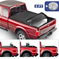 MOSTPLUS Tri Fold Soft Folding Truck Bed Tonneau Cover Compatible for 2019 2020 Ford Ranger 5FT On Top