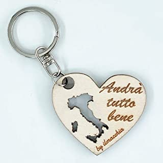 Portachiavi in legno personalizzato con incisione a forma di cuore personalizzabile con frasi loghi ecc