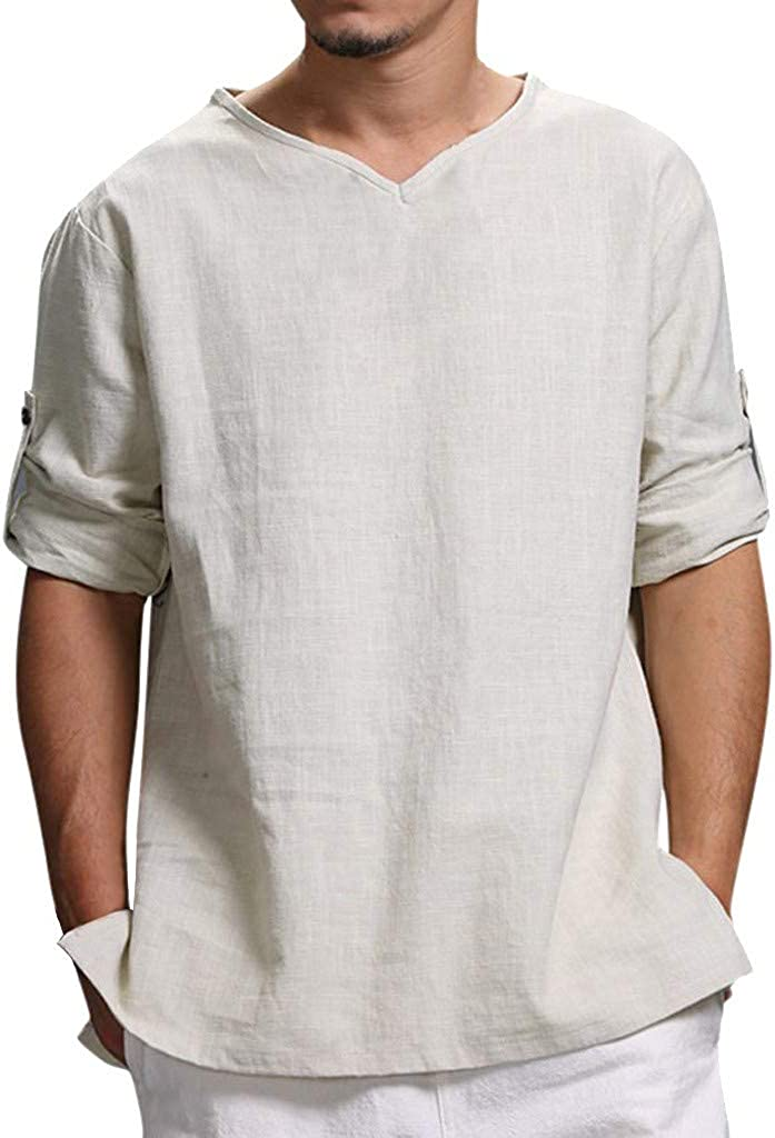 Mens Henley Linen Shirt Summer Loose Casual Beach T Shirts Roll Up Shirts 3/4 Sleeve Solid Yoga Tops Large Size M-4XL