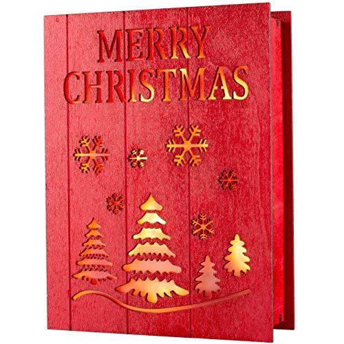 WeRChristmas Libro in Legno Pre-illuminato Merry Christmas, Multicolore, 20 cm