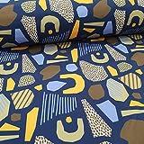Schickliesel Softshell Stoff Meterware Formen blau