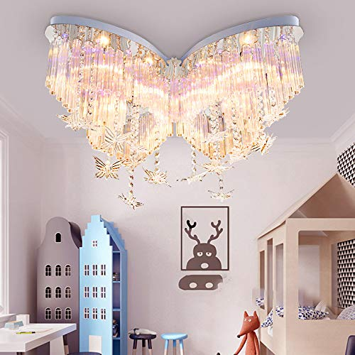 LITFAD Modern Art Deco Ceiling Light 31.5' Wide Butterfly Shaped Crystal Raindrop Discoloration...