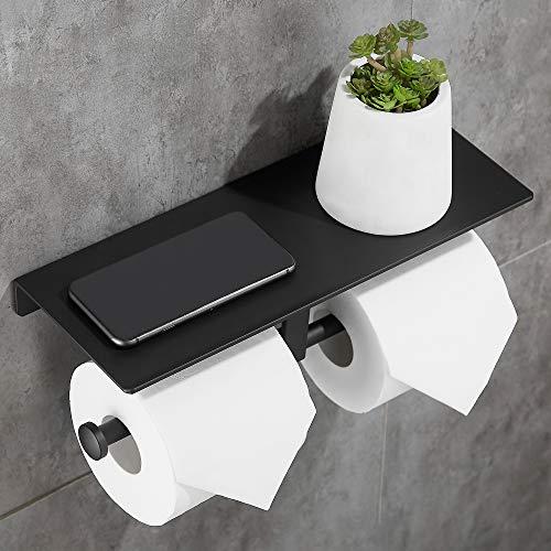 Gricol doble rollo de papel higiénico espacio aluminio montado en la pared baño tela almacenamiento con soporte para teléfono estante soporte bandeja para cocina baño (Negro)