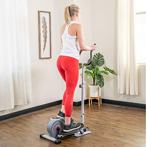 Product Image 12: Sunny Health & Fitness Magnetic Standing Elliptical with Handlebars – SF-E3988, Grey